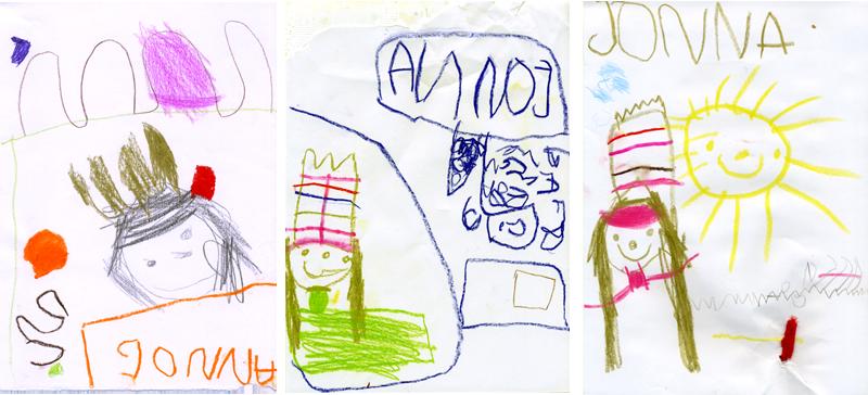 Drei von Jonna gemalte Prinzessinnen