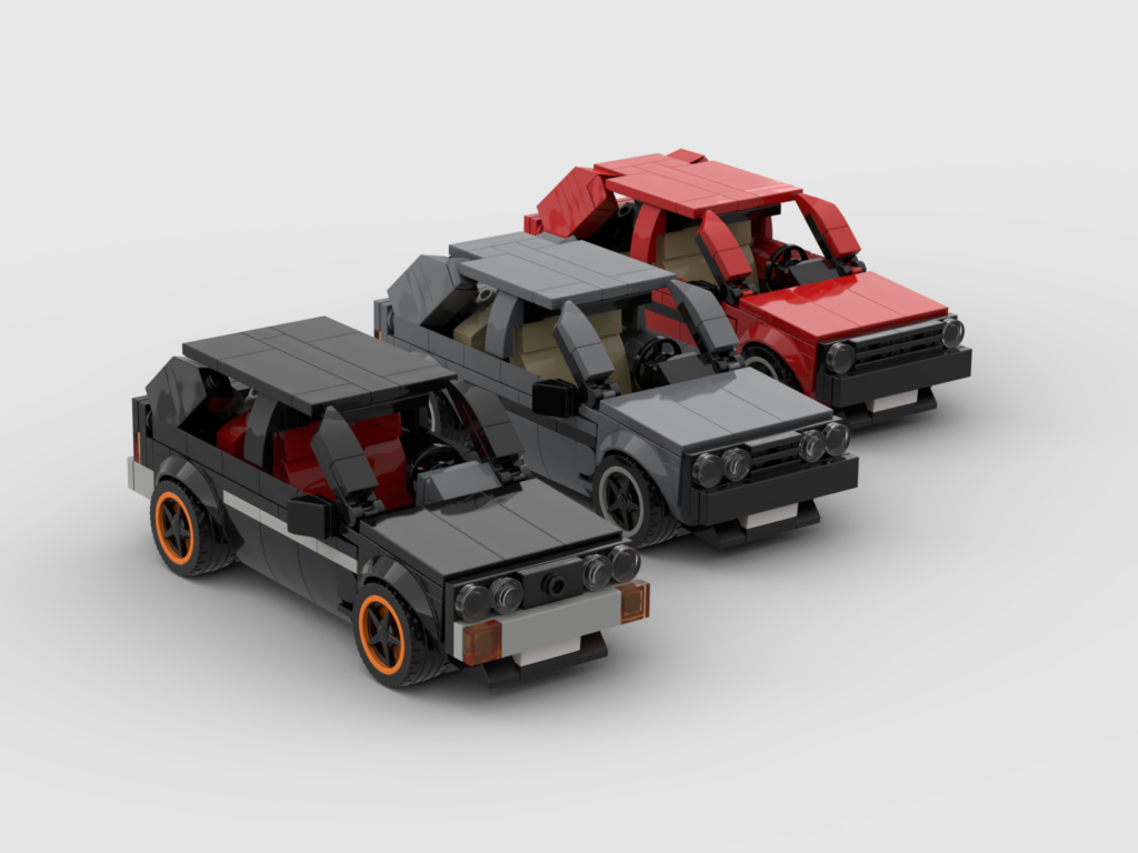 3 Lego models of a Volkswagen Golf 1